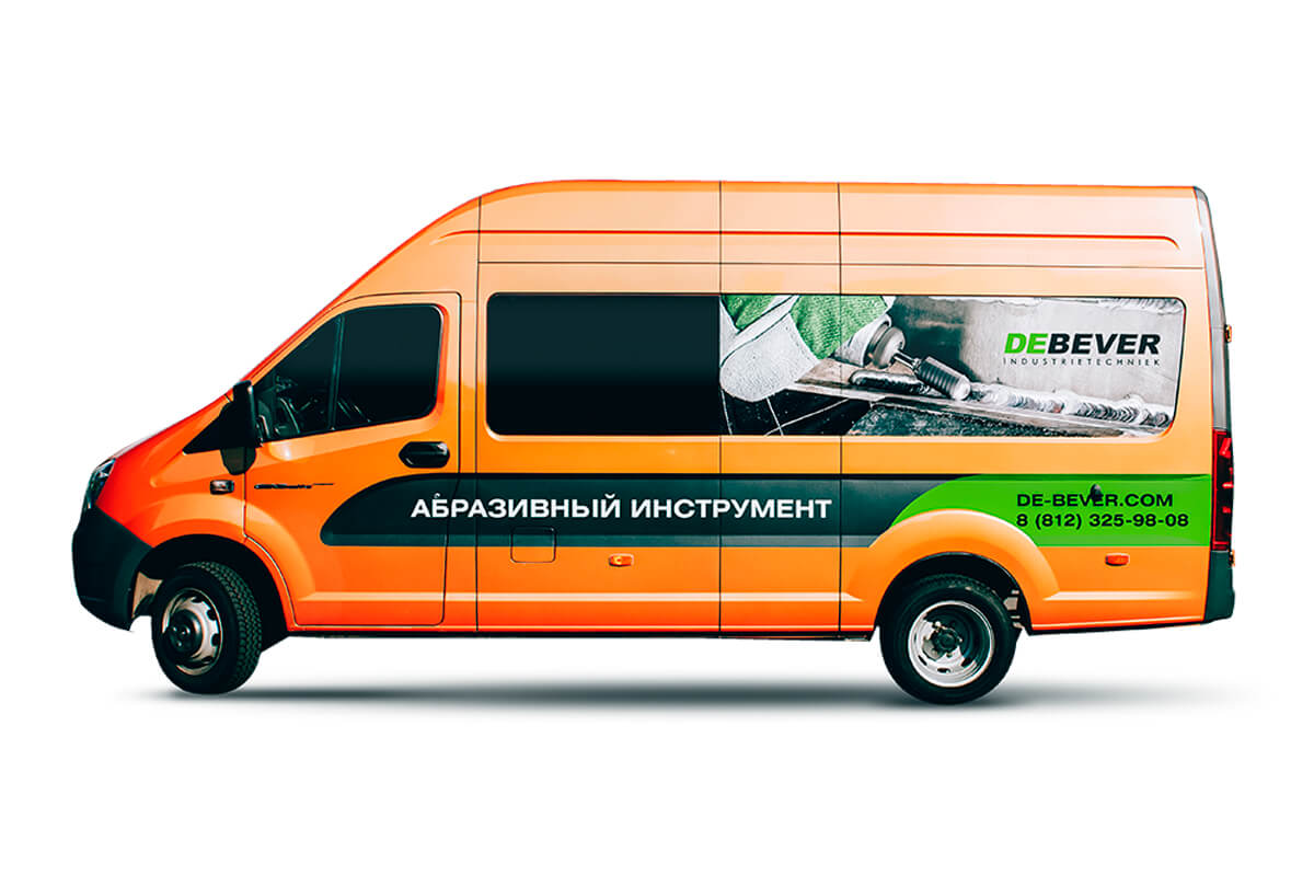 Машина ярко-оранжевого цвета DeBever - Абразивный инструмент